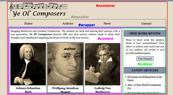 Ye Ol Composers Website at 1200px Display Width