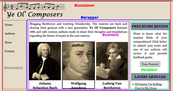 Ye Ol Composers Original Layout With Main Containers Highlighted
