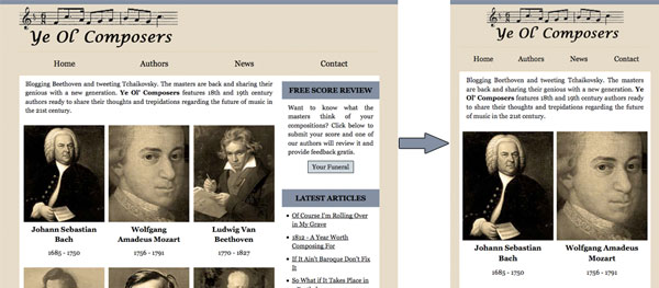Responsive Design Article Ye Ol Composers Website